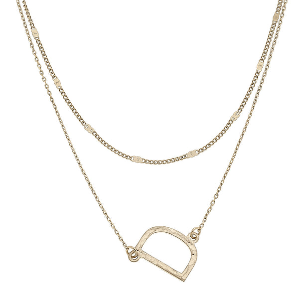 """D"" Short Layered Initial Necklace in Worn Gold by Crave"