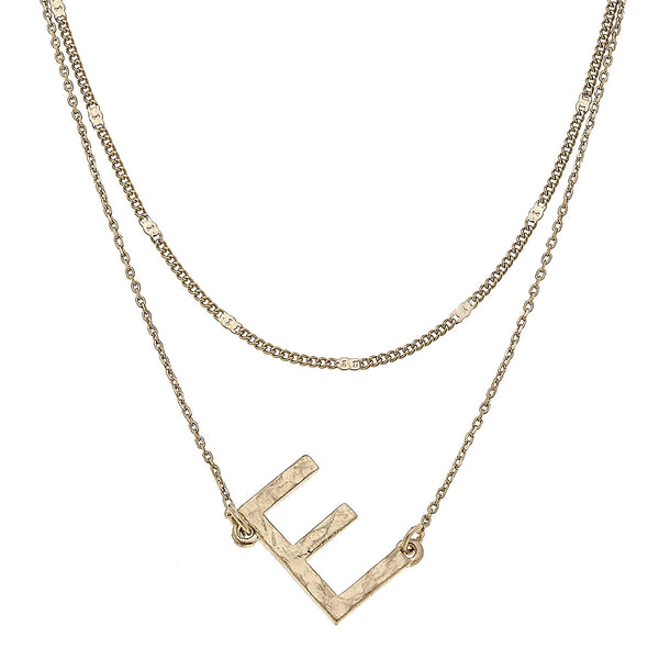 """E"" Short Layered Initial Necklace in Worn Gold by Crave"