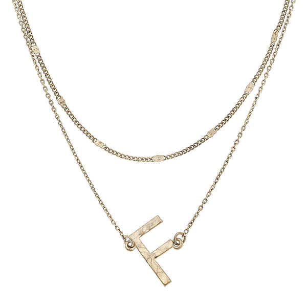 """F"" Short Layered Initial Necklace in Worn Gold by Crave"