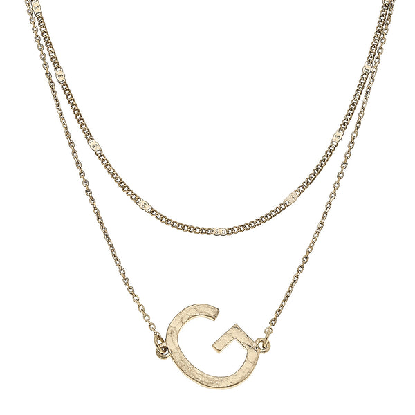 """G"" Short Layered Initial Necklace in Worn Gold by Crave"