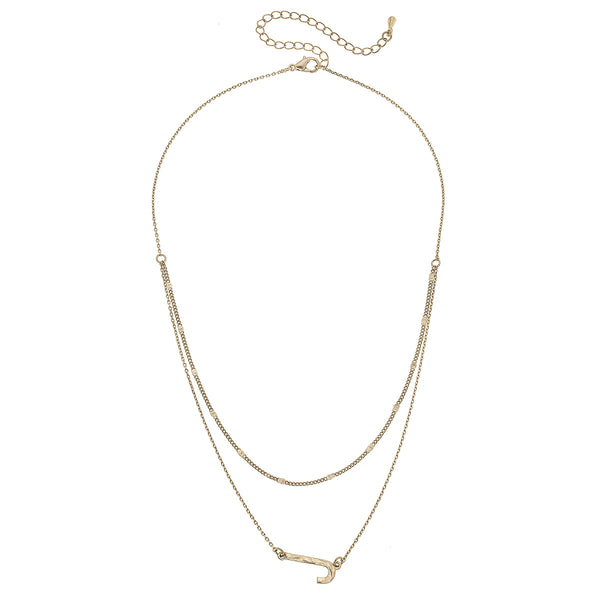 """J"" Short Layered Initial Necklace in Worn Gold by Crave"