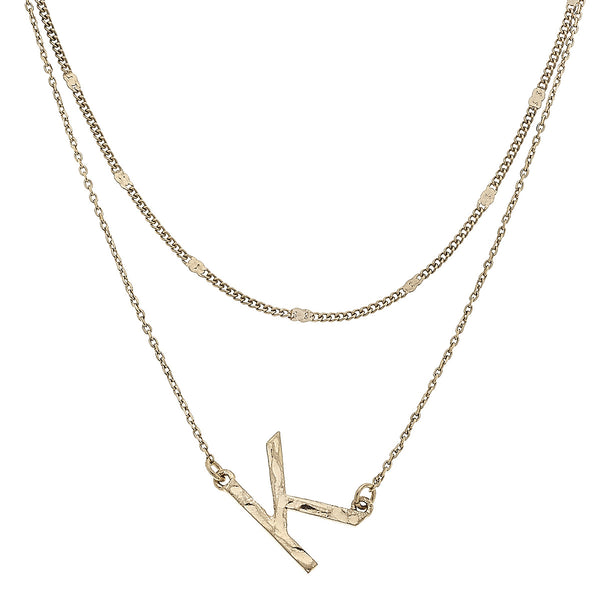 """K"" Short Layered Initial Necklace in Worn Gold by Crave"