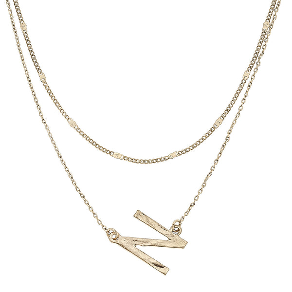 """N"" Short Layered Initial Necklace in Worn Gold by Crave"