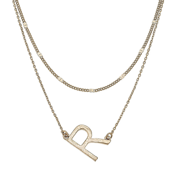 """R"" Short Layered Initial Necklace in Worn Gold by Crave"