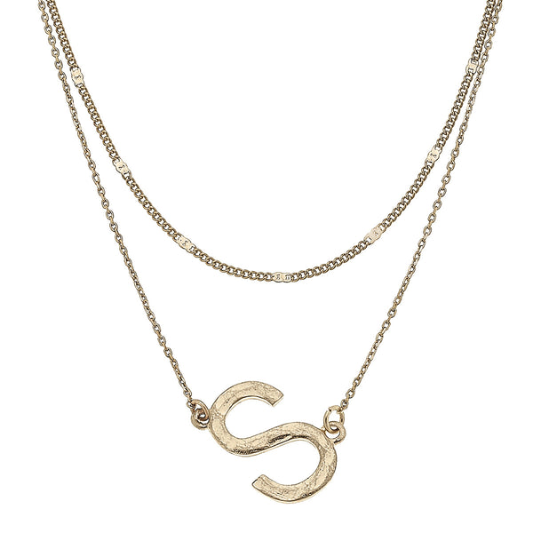 """S"" Short Layered Initial Necklace in Worn Gold by Crave"