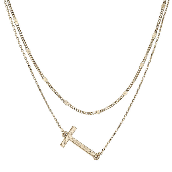 """T"" Short Layered Initial Necklace in Worn Gold by Crave"