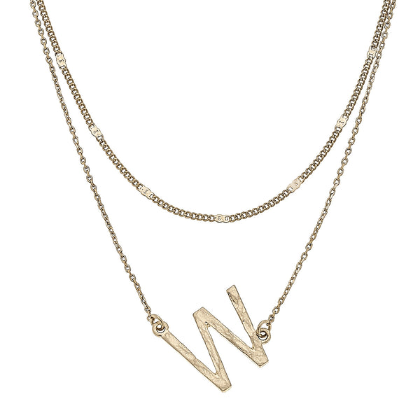 """W"" Short Layered Initial Necklace in Worn Gold by Crave"