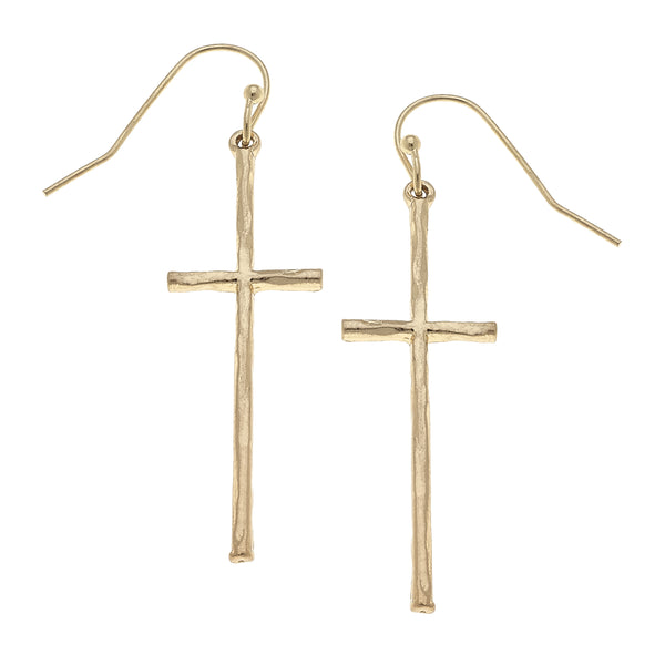 Cross Drop Earrings in Worn Gold