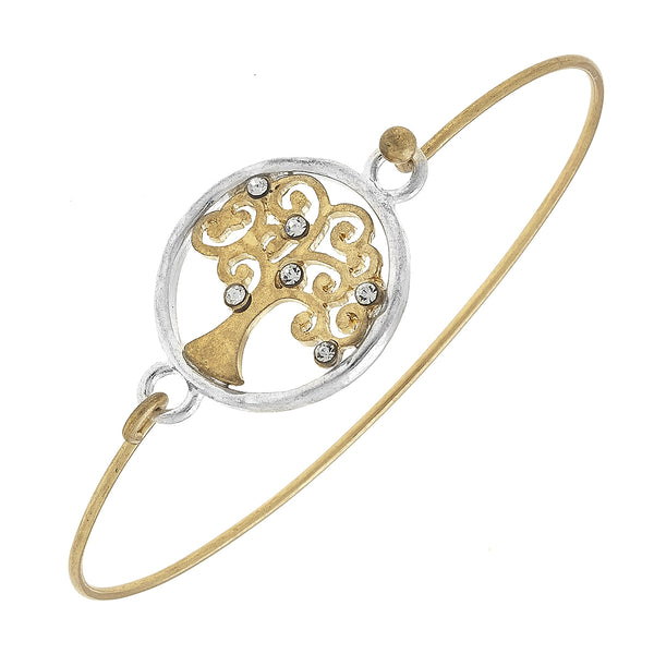 Tree of Life Wire Wrap Latch Bangle in Worn Gold and Worn Silver by Crave