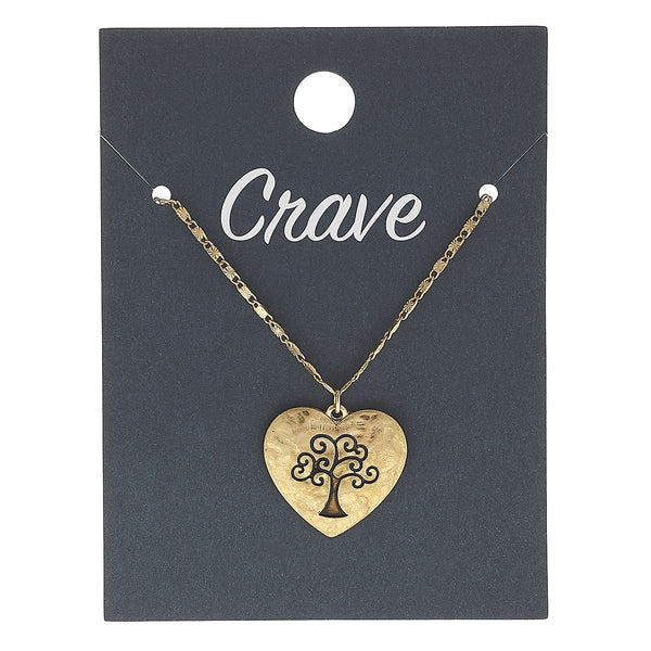 Tree of Life Heart Delicate Charm Necklace in Worn Gold by Crave