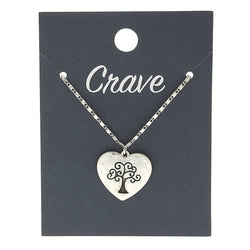 Tree of Life Heart Delicate Charm Necklace in Worn Silver by Crave