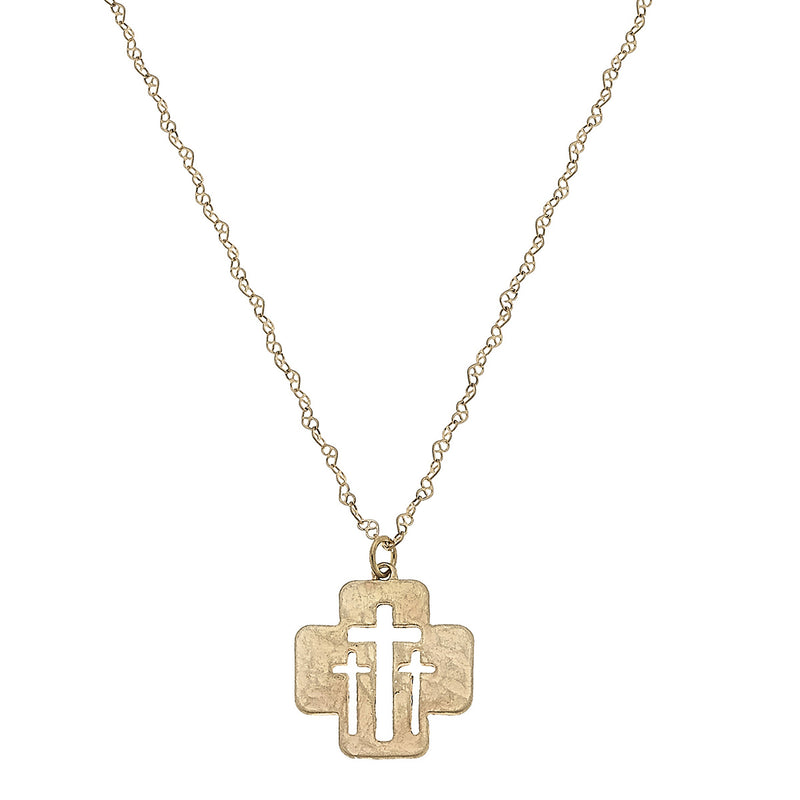 Calvary Cut Out Cross Delicate Charm Necklace in Worn Gold by Crave