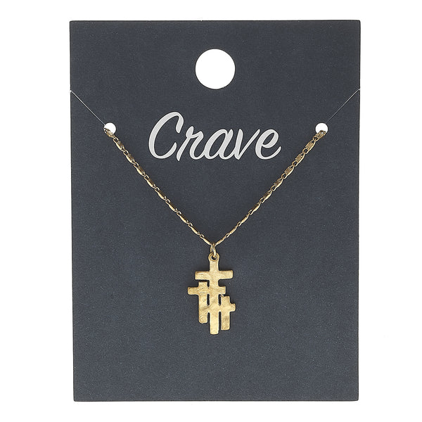 Calvary Cross Delicate Charm Necklace in Worn Gold by Crave