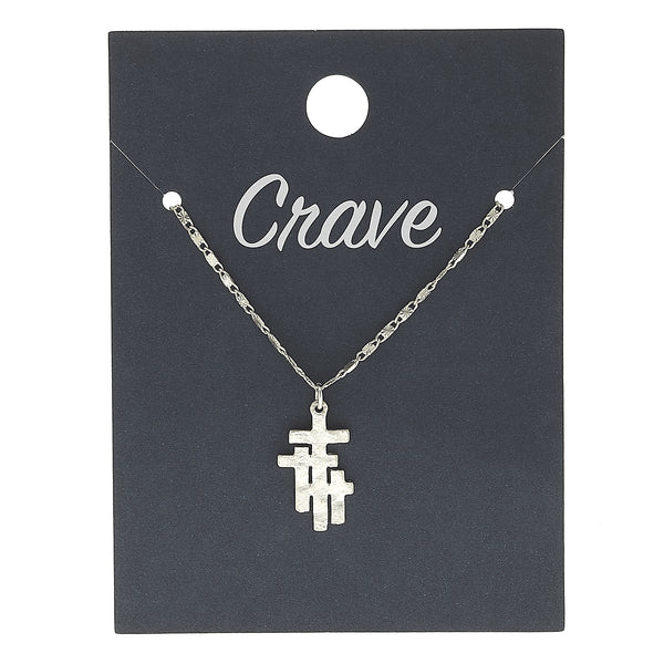 Calvary Cross Delicate Charm Necklace in Worn Silver by Crave