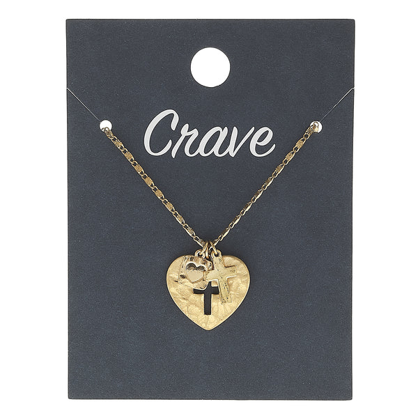 Heart Cut Out Cross Delicate Charm Necklace in Worn Gold by Crave