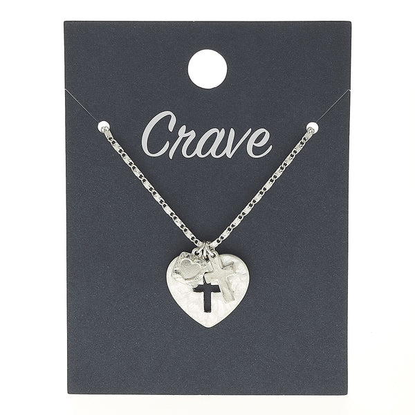 Heart Cut Out Cross Delicate Charm Necklace in Worn Silver by Crave