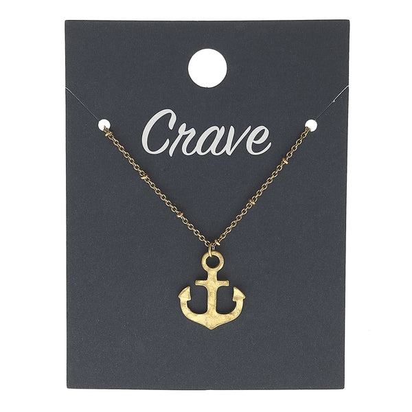 Anchor Delicate Charm Necklace in Worn Gold by Crave