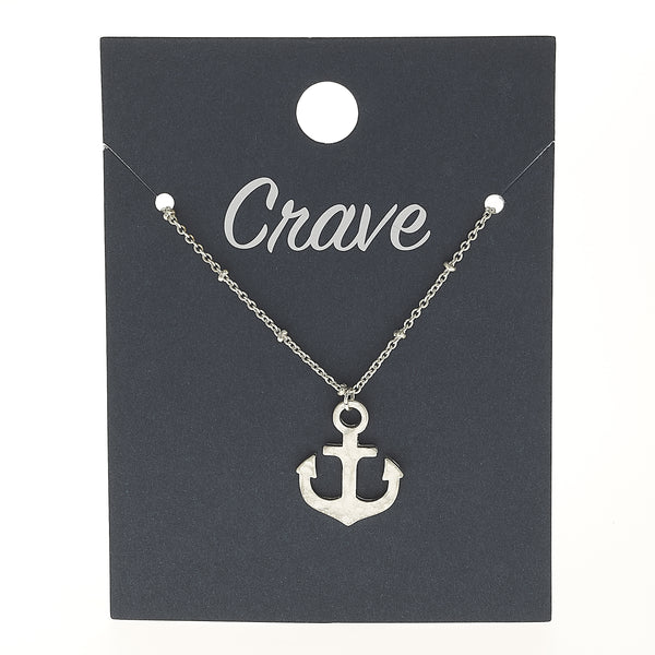 Anchor Delicate Charm Necklace in Worn Silver by Crave