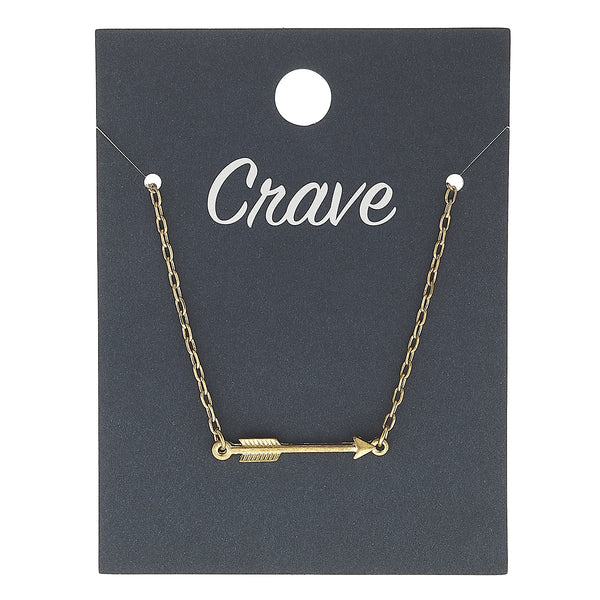 Sideways Arrow Delicate Charm Necklace in Worn Gold by Crave