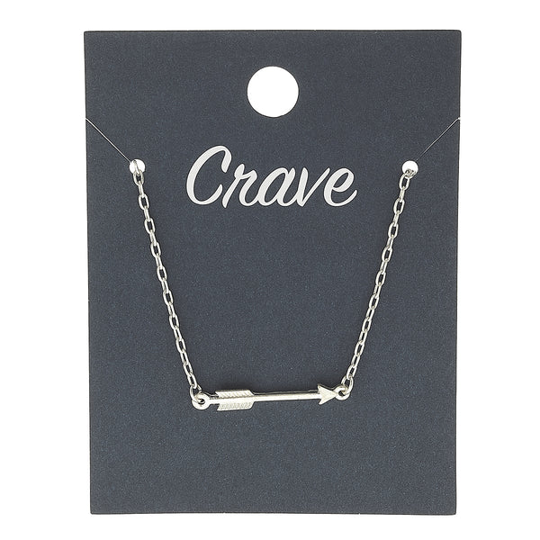 Sideways Arrow Delicate Charm Necklace in Worn Silver by Crave