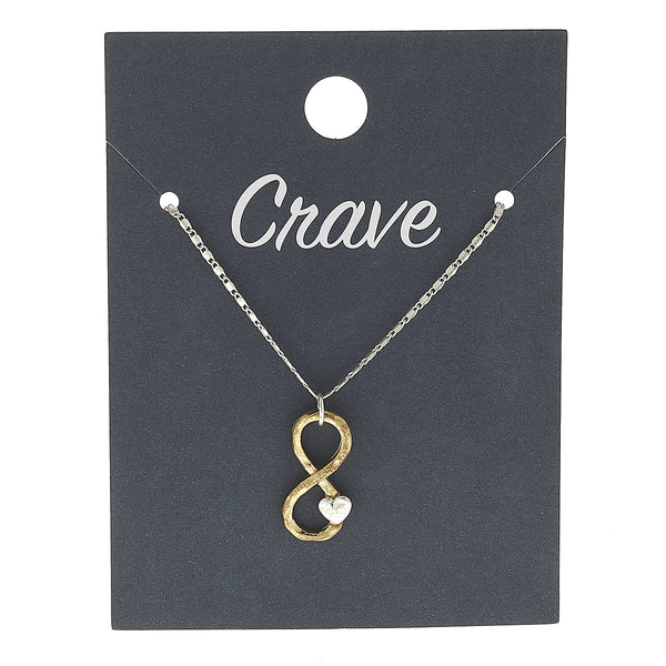 Infinity Heart Charm Necklace in Worn Silver by Crave
