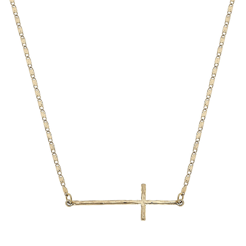 Sideways Coss Delicate Charm Necklace in Worn Gold by Crave