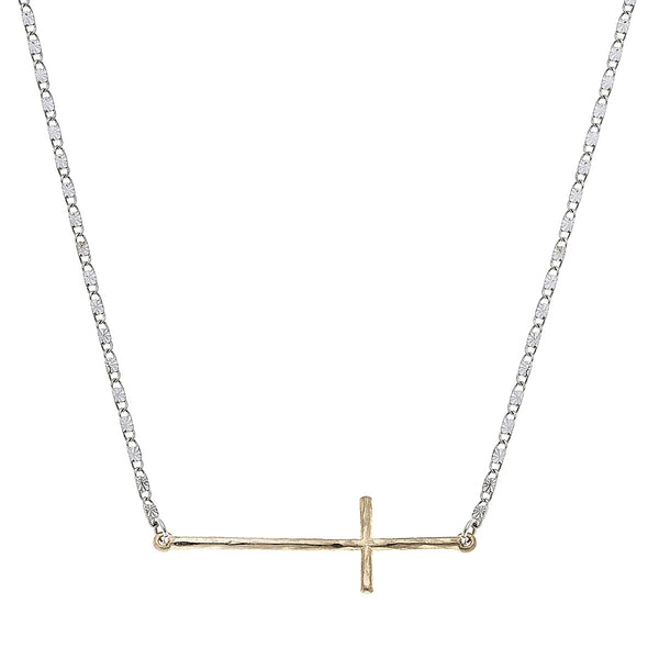 Sideways Coss Delicate Charm Necklace in Worn Gold and Worn Silver by Crave