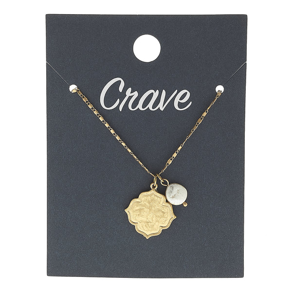 Quatrefoil Delicate Charm Necklace in Worn Gold by Crave