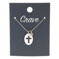 Cut Out Cross Delicate Charm Necklace in Worn Silver by Crave