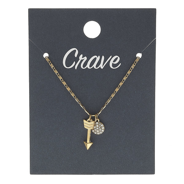 Arrow Delicate Charm Necklace in Worn Gold by Crave