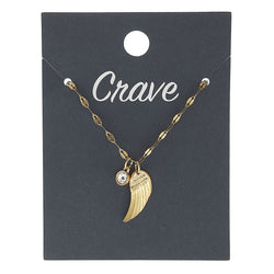 Wing Delicate Charm Necklace in Worn Gold by Crave