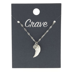 Wing Delicate Charm Necklace in Worn Silver by Crave