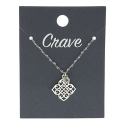 Quatrefoil Delicate Charm Necklace in Worn Silver by Crave