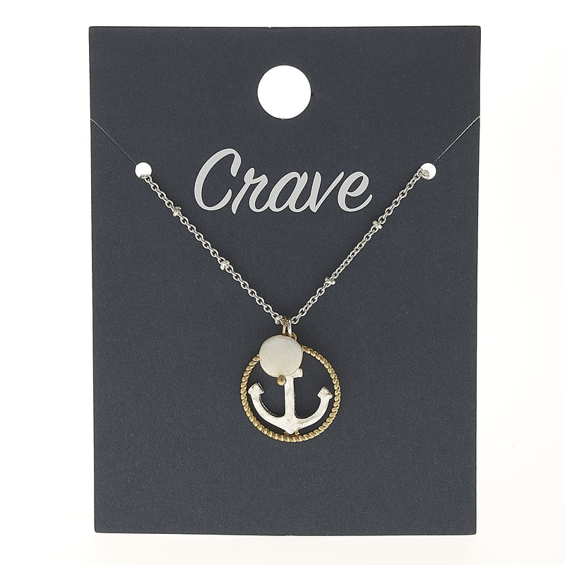 Anchor Circle Charm Necklace in Worn Silver by Crave