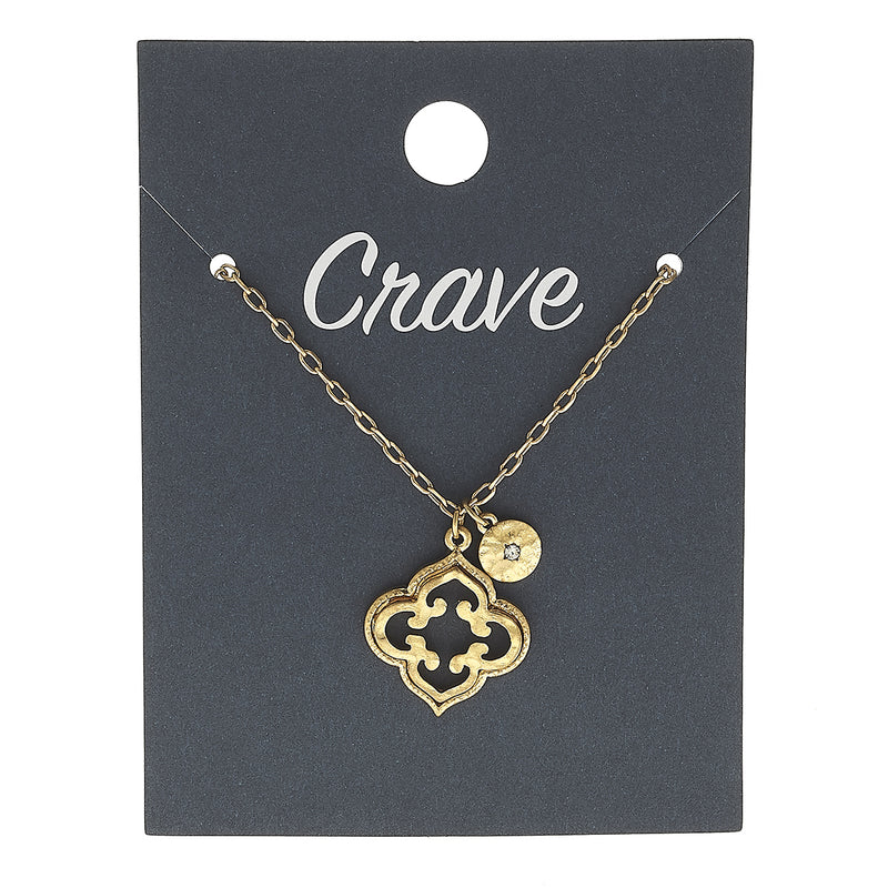 Quatrefoil Circle Delicate Charm Necklace in Worn Gold by Crave