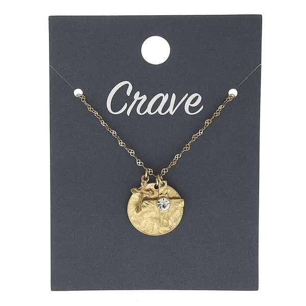 Cross & Disc Delicate Charm Necklace in Worn Gold by Crave