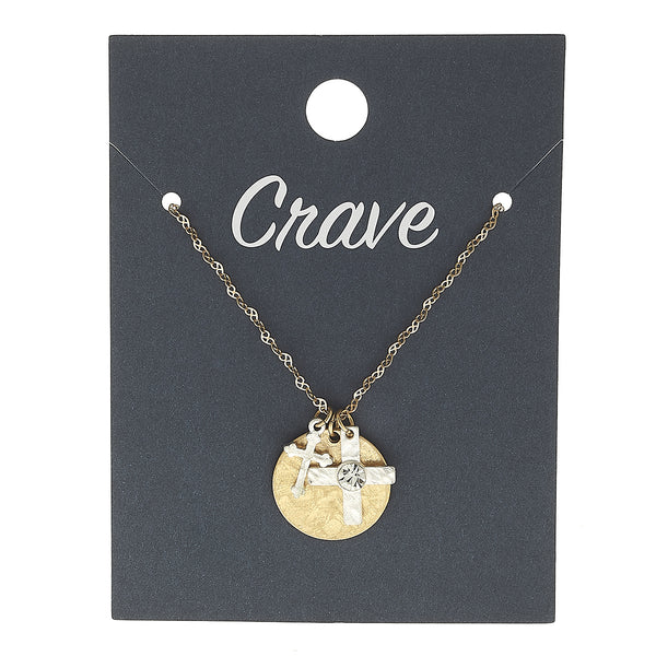 Cross & Disc Delicate Charm Necklace in Worn Silver by Crave