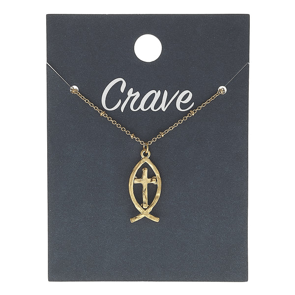 Christian Fish Cross Charm Necklace in Worn Gold by Crave