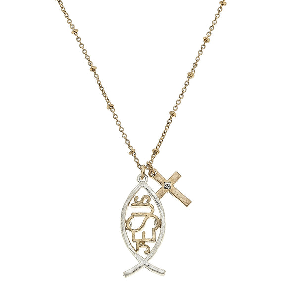 Christian Fish Cross Charm Necklace in Worn Silver by Crave