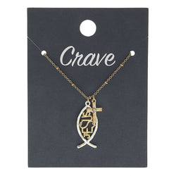 "Christian Fish ""Jesus"" Charm Necklace in Worn Silver by Crave"