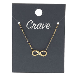 Sideways Infinity Charm Necklace in Worn Gold by Crave