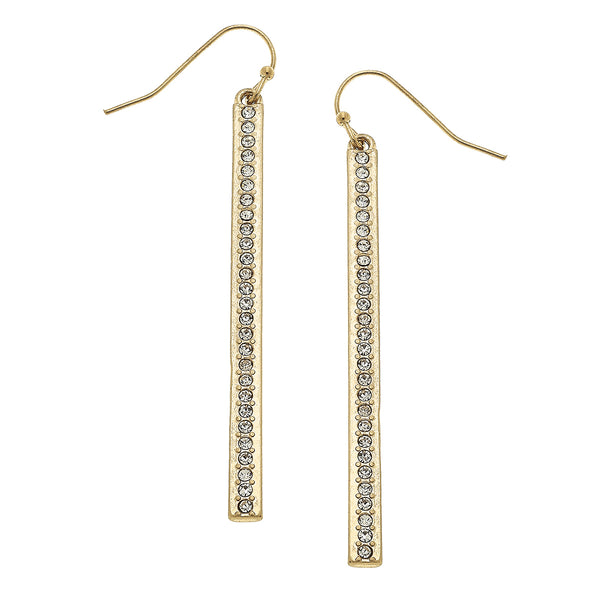 Bar Pave Drop Earring in Worn Gold by Crave