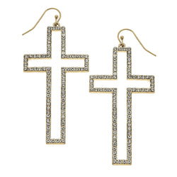 18578E-WG Cross Pave Drop Earring by Crave