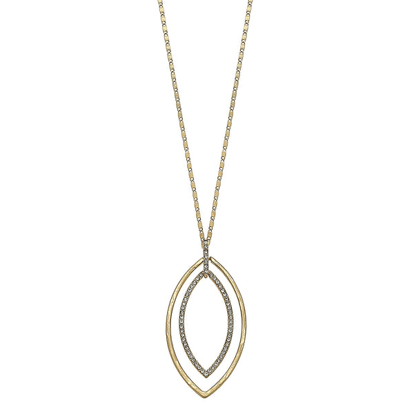 Nested Marquis Pave Pendant Necklace in Worn Gold by Crave