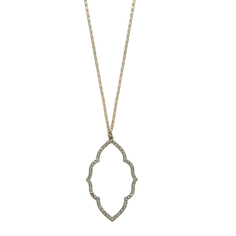 Moroccan Pave Pendant Necklace in Worn Gold by Crave