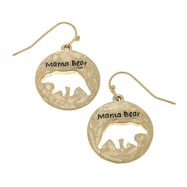 """Mama Bear"" Cut Out Disc Earring in Worn Gold by Crave"