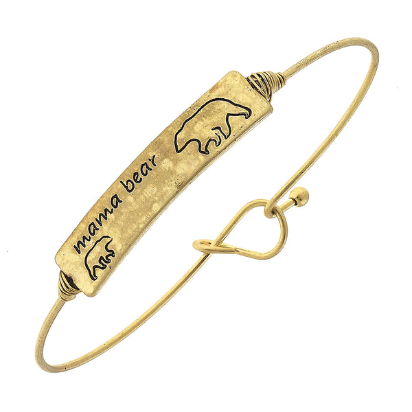 """Mama Bear"" Cub Bar Latch Bracelet in Worn Gold by Crave"