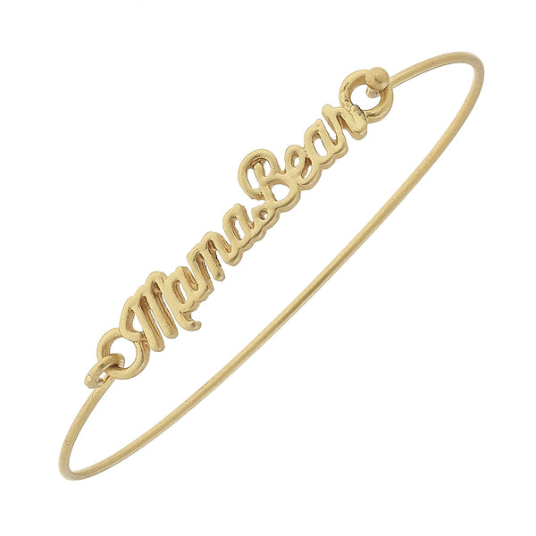"""Mama Bear"" Script Latch Bracelet in Worn Gold by Crave"
