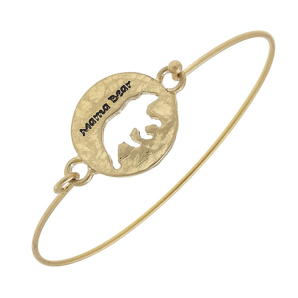 """Mama Bear"" Cut Out Latch Bracelet in Worn Gold by Crave"