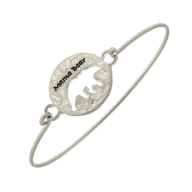 """Mama Bear"" Cut Out Latch Bracelet in Worn Silver by Crave"